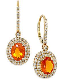 Fire Opal (2-1/10 ct. t.w.) and Diamond (1 ct. t.w.) Drop Earrings in 18k Gold