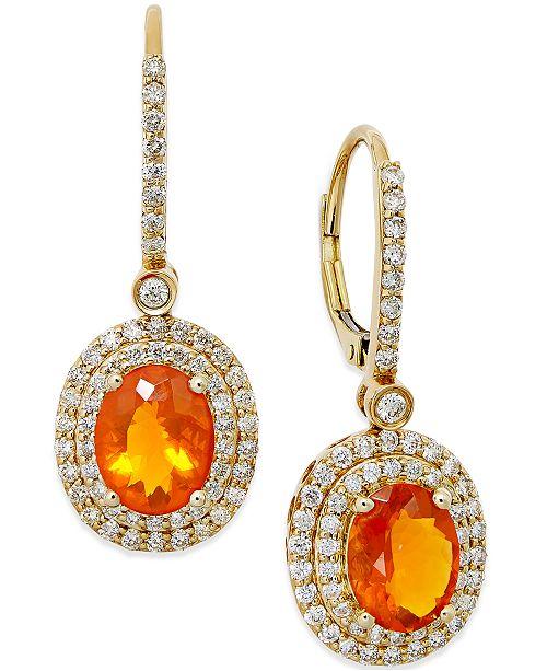Macy's Fire Opal (2-1/10 ct. t.w.) and Diamond (1 ct. t.w.) Drop Earrings in 18k Gold
