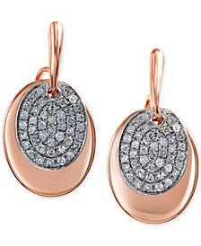 EFFY Diamond Oval Disc Earrings (1/4 ct. t.w.) in 14k Rose Gold