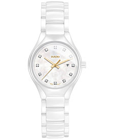 Rado Women's Swiss True Diamond Accent White High-Tech Ceramic Bracelet Watch 30mm R27061902
