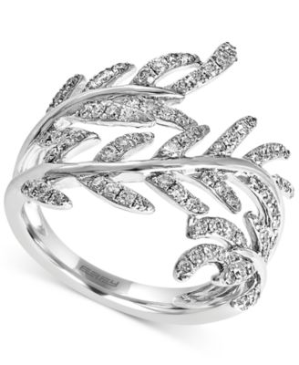 effy collection effy diamond leaf ring 5 8 ct t w in 14k white Palm Leaf Ring effy diamond leaf ring 5 8 ct t w in 14k white gold