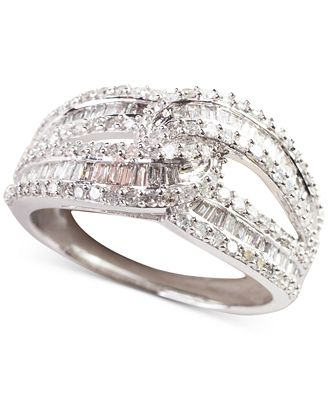 Diamond Intersecting Baguette Ring (1 ct. t.w.) in 14k White Gold