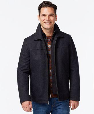 tommy hilfiger open bottom wool blend coat with bib. Black Bedroom Furniture Sets. Home Design Ideas