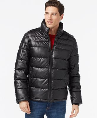 Tommy Hilfiger Faux-Leather Quilted Jacket - Coats & Jackets - Men ... : leather quilted jacket men - Adamdwight.com