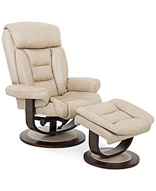 CLOSEOUT! Eve Leather Recliner with Ottoman