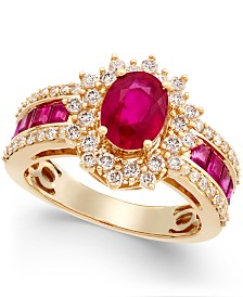 Emerald (1-3/4 ct. t.w.) and Diamond (3/4 ct. t.w.) Ring in 14k Gold (Also Available in Sapphire & Certified Ruby)