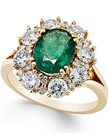 Emerald (1-3/4 ct. t.w.) and Diamond (1-1/3 ct. t.w.) Ring in 14k Gold