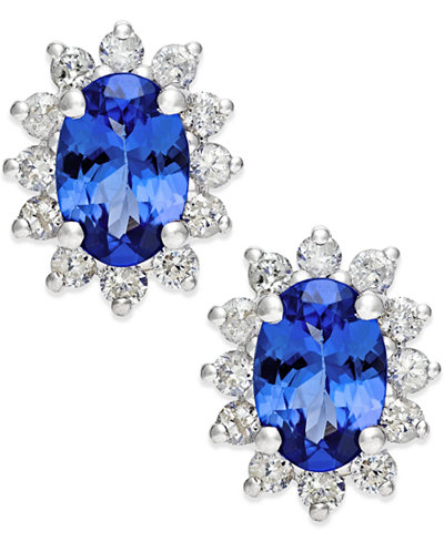 Tanzanite (7/8 ct. t.w.) and Diamond (1/2 ct. t.w.) Stud Earrings in 14k White Gold