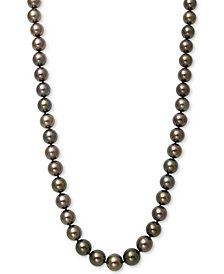 "Belle de Mer Cultured Tahitian Pearl (9mm) Strand   17.5"" Necklace in 14k White Gold"