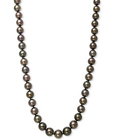 "Belle de Mer Cultured Tahitian Pearl (8-11mm) Strand   17.5"" Necklace in 14k White Gold"