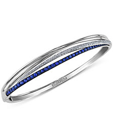 Royal Bleu by EFFY Sapphire (1-1/10 ct. t.w.) and Diamond (1/3 ct. t.w.) Bangle Bracelet in 14k White Gold, Created for Macy's
