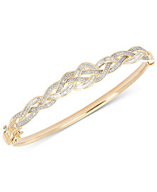 Wrapped in Love™ Diamond Braided Bangle Bracelet (1 ct. t.w.) in 10k Gold, Created for Macy's