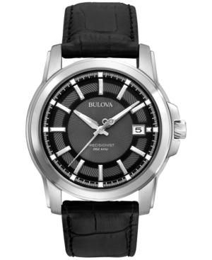 Bulova Men's Precisionist Black Leather Strap Watch 42mm 96B158