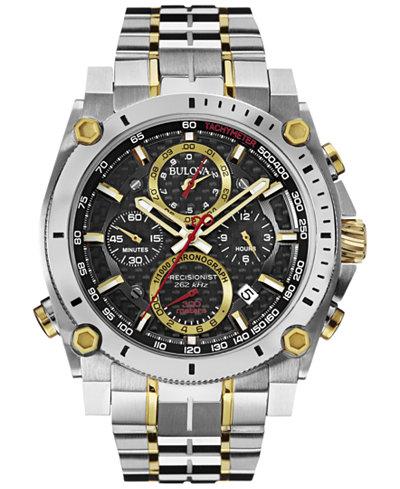 Bulova Men's Chronograph Precisionist Two-Tone Stainless Steel Bracelet Watch 47mm 98B228