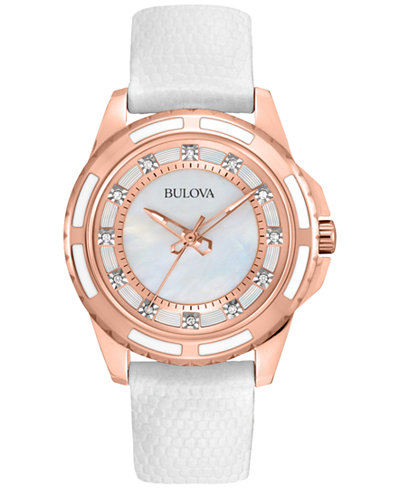 Bulova Women's White Lizard Leather Strap Watch 28mm 98P119