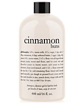 philosophy cinnamon buns ultra rich 3-in-1 shampoo, body wash, and bubble bath, 16 oz.