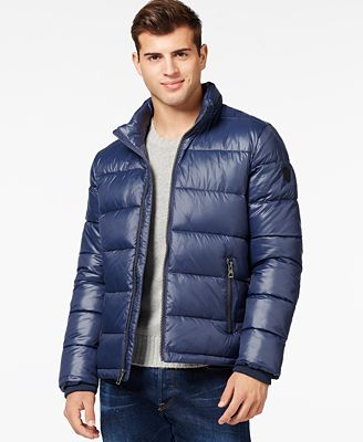 GUESS Basic Puffer Jacket - Coats & Jackets - Men - Macy's