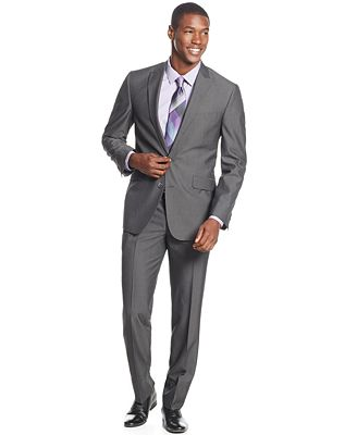 Kenneth Cole Reaction Charcoal Pinstripe Slim-Fit Suit - Suits