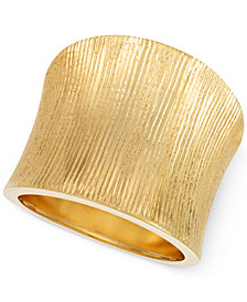 Italian Gold Brushed Concave Ring in 14k Gold