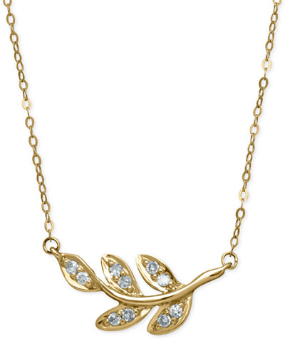 Diamond leaf pendant necklace 110 ct tw in 10k gold diamond leaf pendant necklace 110 ct tw in 10k gold aloadofball Image collections