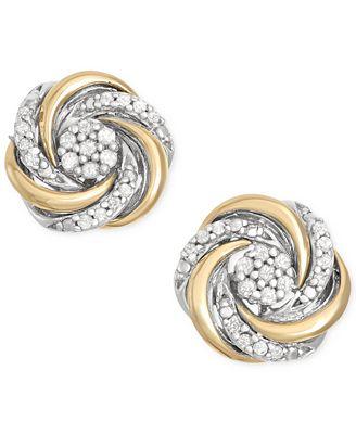 Diamond Swirl Stud Earrings 1 10 ct t w in 14k Gold and