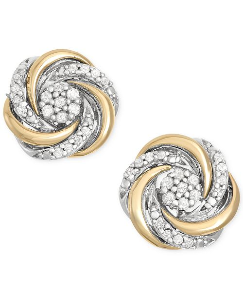 Diamond Swirl Stud Earrings 1 10 Ct T W In 14k Gold And Sterling Silver