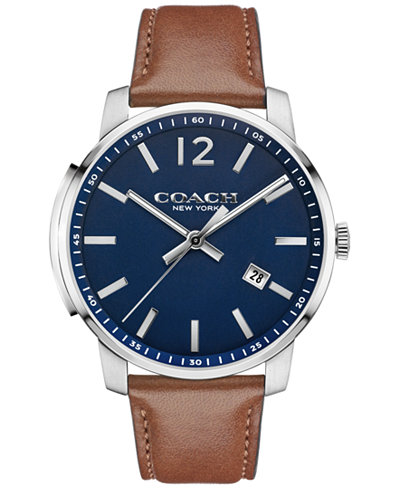 COACH MEN'S BLEECKER RUSSET LEATHER STRAP WATCH 42MM 14602004, MACY'S EXCLUSIVE