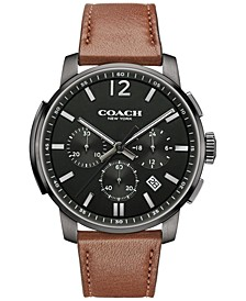 MEN'S BLEECKER CHRONO BROWN LEATHER STRAP WATCH 42MM, MACY'S EXCLUSIVE