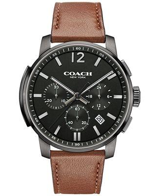 COACH MEN'S BLEECKER CHRONO BROWN LEATHER STRAP WATCH 42MM 14602017, MACY'S EXCLUSIVE