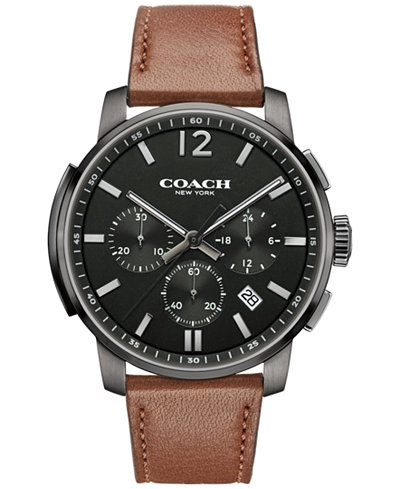 COACH MEN'S BLEECKER CHRONO BROWN LEATHER STRAP WATCH 42MM 14602017, MACY'S EXCLUSIVE
