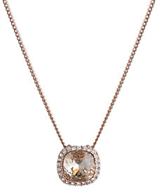 Givenchy Rose Gold-Tone Crystal Cushion Pendant Necklace