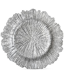 Jay Import Glass Silver-Tone Reef Charger Plate