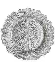 Jay Imports Glass Silver-Tone Reef Charger Plate