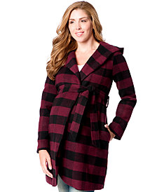 Motherhood Maternity Hooded Belted Plaid Coat