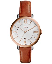 Fossil Women's Jacqueline Dark Brown Leather Strap Watch 36mm ES3842