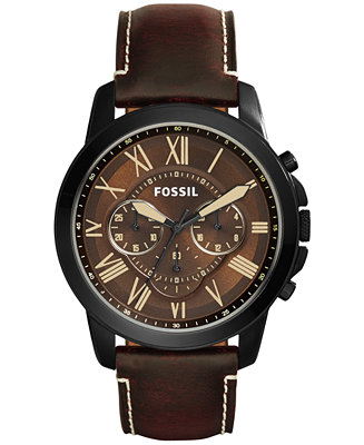 Fossil Men's Chronograph Grant Dark Brown Leather