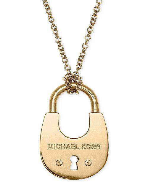 0a5d0a0d0917d Michael Kors Padlock Pendant Necklace  Michael Kors Padlock Pendant Necklace  ...