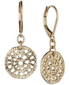 Gold-Tone Textured Disc Drop Earrings