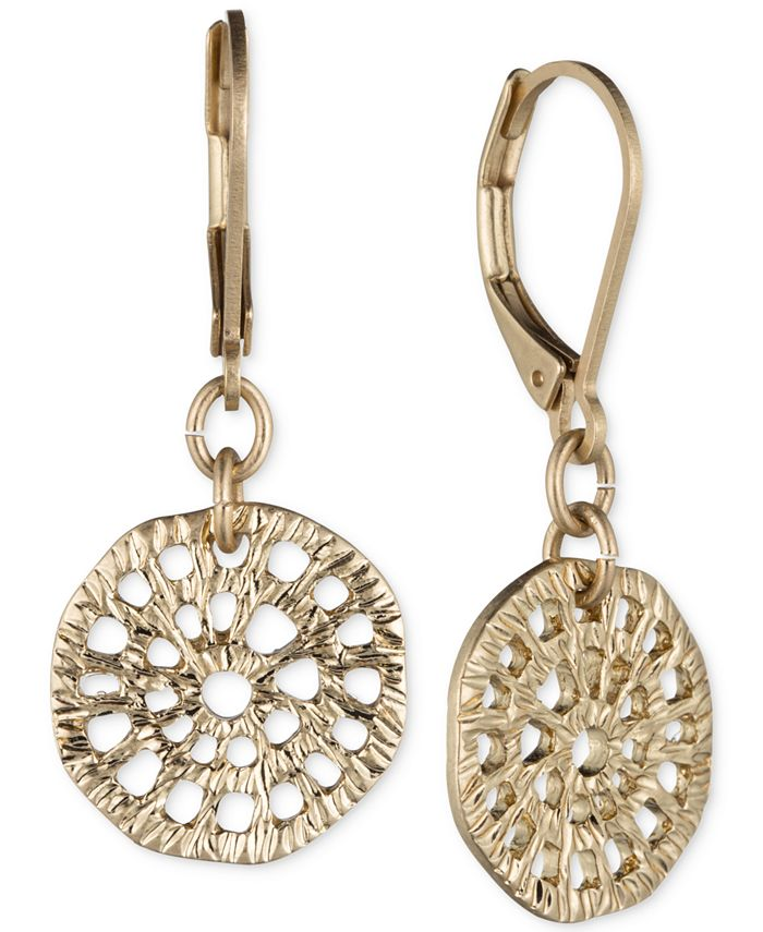 lonna & lilly - Gold-Tone Textured Disc Drop Earrings