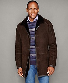 Mens Shearling Button-Front Jacket