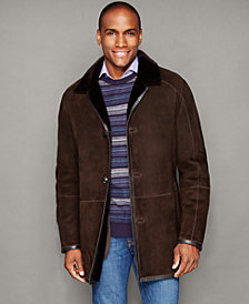The Fur Vault Mens Shearling Button-Front Jacket