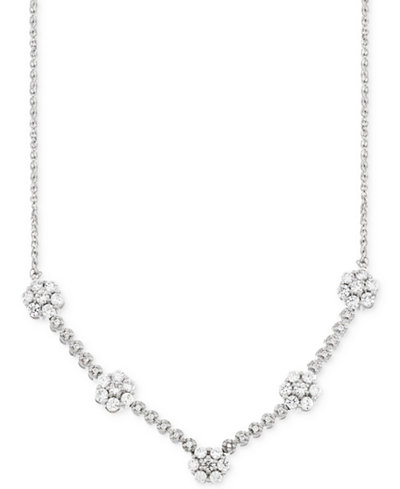 Wrapped in Love™ Diamond Flower Cluster Necklace (1 ct. t.w.) in 14k White Gold, Created for Macy's