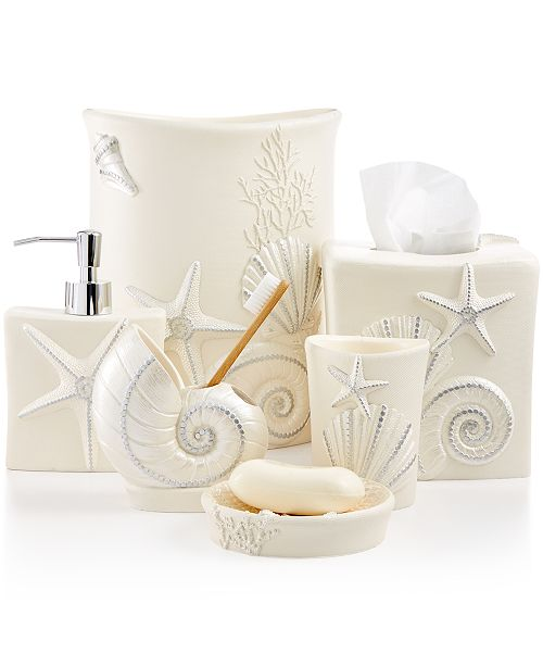 Evoke The Coastal Vibes Of A Beachy Seaside Retreat With Sequin Shells Bath Accessories Collection From Avanti Featuring Embossed Seashells Starfish