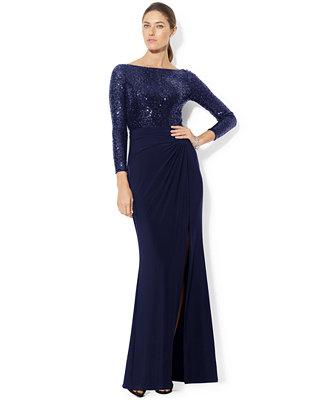 Lauren Ralph Lauren Long Sleeve Sequin Gown Dresses