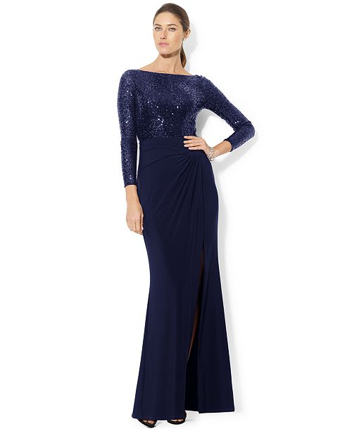 Lauren Ralph Lauren Long-Sleeve Sequined Gown - Dresses - Women - Macy\'s