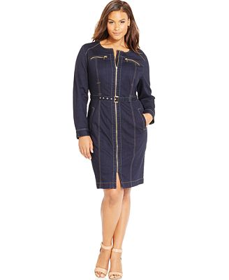 INC International Concepts Plus Size Denim Sheath Dress, Only at Macy's