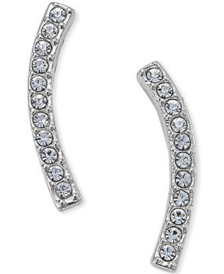 Silver-Tone Pavé Ear Crawler Earrings