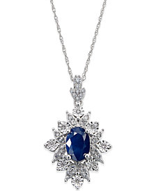 Sapphire (1 ct. t.w.) and Diamond (1/5 ct. t.w.) Pendant Necklace in 14k White Gold