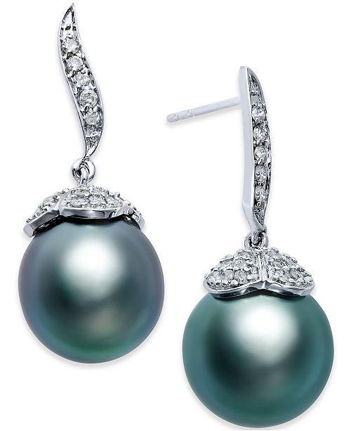 Macy's Black Tahitian Pearl (11mm) and Diamond (3/8 ct. t.w.) Stud Earrings