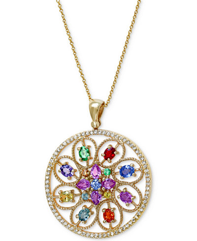 Watercolors by EFFY Multicolor Sapphire (2-9/10 ct. t.w.) Tsavorite (1/5 ct. t.w.) and Diamond (1/3 ct. t.w.) Pendant in 14k Gold, Created for Macy's